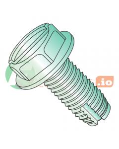"10-24 x 3/8"" Type 1 Thread Cutting Screws / Slotted / Hex Washer Head / Steel / Zinc Green (Quantity: 8,000 pcs)"