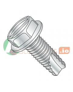 "6-32 x 1/4"" Type 23 Thread Cutting Screws / Slotted / Hex Washer Head / Steel / Zinc (Quantity: 10,000 pcs)"
