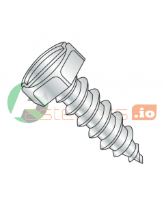 "#8 x 3/8"" Type AB Self-Tapping Screws / Slotted / Hex Head / Steel / Zinc (Quantity: 10,000 pcs)"