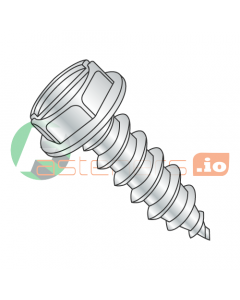 """#4 x 1/4"""" Type AB Self-Tapping Screws / Slotted / Hex Washer Head / Steel / Zinc (Quantity: 10,000 pcs)"""