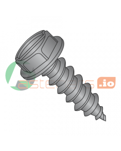 """#4 x 1/4"""" Type AB Self-Tapping Screws / Slotted / Hex Washer Head / Steel / Black Oxide (Quantity: 10,000 pcs)"""