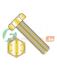 "1/4-28 x 1 1/2"" Hex Tap Bolts / Grade 8 / Zinc Yellow (Quantity: 300 pcs) Fully Threaded"