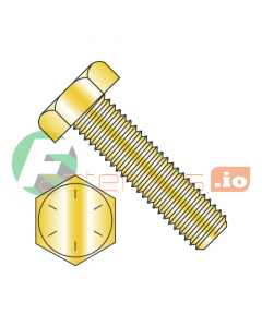 "7/8-9 x 3"" Hex Tap Bolts / Grade 8 / Zinc Yellow (Quantity: 30 pcs) Fully Threaded"