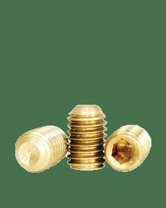 "Socket Set Screw, Cup Point, 10-24 x 3/16"", Brass, Hex Socket (Quantity: 100)"