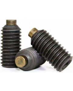 Socket Set Screw, Brass Tip, M3-0.5 x 10mm, Alloy Steel, Black Oxide, Hex Socket (Quantity: 100)