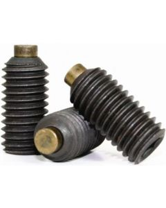 Socket Set Screw, Brass Tip, M12-1.75 x 16mm, Alloy Steel, Black Oxide, Hex Socket (Quantity: 100)