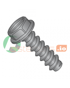"""#4 x 1/4"""" Type B Self-Tapping Screws / Slotted / Hex Washer Head / Steel / Black Oxide (Quantity: 10,000 pcs)"""