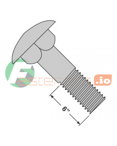 """1/2-13 x 10"""" Carriage Bolts / Steel / Hot Dip Galvanized / Partially Threaded / 6"""" of Thread (Quantity: 25 pcs)"""