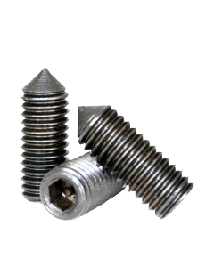 "Socket Set Screw, Cone Point, 4-40 x 3/16"", Alloy Steel, Black Oxide, Hex Socket (Quantity: 100)"