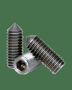 "Socket Set Screw, Cone Point, 5-40 x 3/16"", Alloy Steel, Black Oxide, Hex Socket (Quantity: 100)"