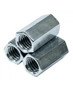 """1/4""""-20 x 7/8"""" (3/8"""" AF) Hex Coupling Nuts / A563 Grade A Steel / Zinc Plated (Quantity: TRUE"""