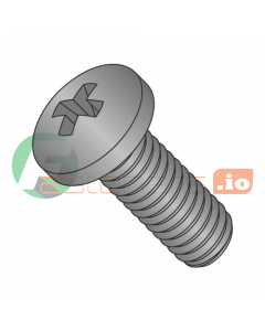 M1.6-0.35 x 12 mm Machine Screws / Phillips / Pan Head / Steel / Black Oxide / DIN7985A (Quantity: 8,000 pcs)