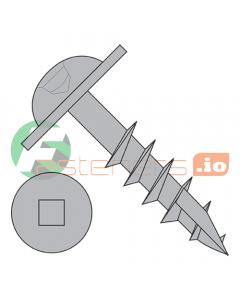 "#8 x 1 1/4"" Deep Thread Wood Screws / Pocket Hole / Square Drive / Round Washer Head / Type 17 Point / Steel / Plain / Coarse Thread / Type 17 Point Point & Chip Cavity (Quantity: 5,000 pcs)"