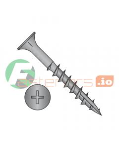 "#6 x 1"" Deep Thread Wood Screws / Phillips / Flat Head / Steel / Black Oxide / Type 17 Point Pt / With Nibs / Type 17 Point Point / With Nibs / Full Thread (Quantity: 9,000 pcs)"