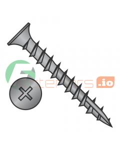 "#6 x 1"" Deep Thread Wood Screws / Phillips / Flat Head / Steel / Black Oxide / Type 17 Point Pt / No Nibs / Type 17 Point Point / Full Thread (Quantity: 9,000 pcs)"