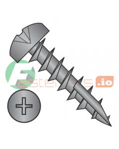 "#6 x 1"" Deep Thread Wood Screws / Phillips / Pan Head / Type 17 Point Pt / Steel / Black Oxide / Type 17 Point Point / Full Thread (Quantity: 6,000 pcs)"