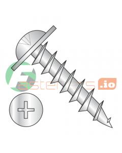 "#8 x 1/2"" Deep Thread Wood Screws / Phillips / Round Washer Head / Steel / Zinc / Full Thread (Quantity: 8,000 pcs)"