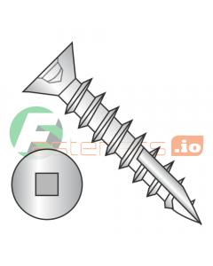 "#6 x 7/8"" Deep Thread Wood Screws / Square / Flat Head / Type 17 Point Pt / Steel / Zinc / No Nibs / Type 17 Point Point / Full Thread (Quantity: 6,000 pcs)"