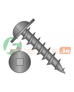 "#8 x 1/2"" Deep Thread Wood Screws / Square / Round Washer Head / Steel / Black Oxide / Full Thread (Quantity: 8,000 pcs)"