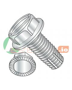 """6-32 x 1/4"""" Type F Thread Cutting Screws / Slotted / Hex Washer Head / Steel / Zinc / Serrated / Serrations Under Head (Quantity: 10,000 pcs)"""