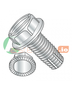 """1/2-13 x 1 1/4"""" Type F Thread Cutting Screws / Slotted / Hex Washer Head / Steel / Zinc / Serrated / Serrations Under Head (Quantity: 200 pcs)"""