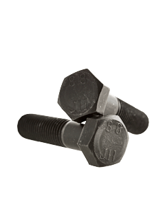 M48-5.0 x 120mm Hex Head Cap Screws, Steel Metric Class 8.8, Plain Finish (Quantity: 8 pcs) - Coarse Thread Metric, Partially Threaded, Length: 120mm Metric, Thread Size: M48 Metric