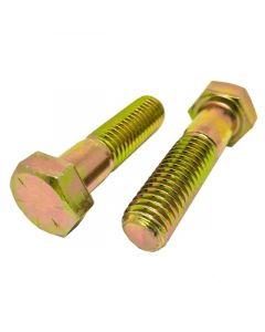 1/2-13 x 4 3/4 Hex Head Cap Screws, Alloy Steel Grade 8, Zinc Yellow Plating (Quantity: 125 pcs) - Coarse Thread UNC, Partially Threaded, Length: 4 3/4 Inch, Thread Size: 1/2 Inch
