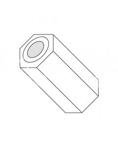 "3/16"" OD Hex Spacers / .091"" x 1/4"" / Nylon / Outer Diameter: 3/16"" / Hole Size: .091"" / Length: 1/4"" (Quantity: 1,000 pcs)"