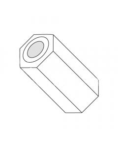 "1/4"" OD Hex Spacers / .091"" x 3/8"" / Nylon / Outer Diameter: 1/4"" / Hole Size: .091"" / Length: 3/8"" (Quantity: 1,000 pcs)"
