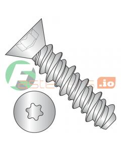 """#4 x 3/8"""" High Low Style Self Tapping Screws / Six-Lobe (Torx) / Flat Head / Steel / Zinc (Quantity: 10,000 pcs)"""