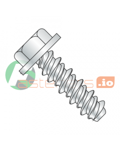 """#4 (#3 Head) x 1/4"""" High Low Style Self Tapping Screws / Unslotted / Hex Washer Head / Steel / Zinc (Quantity: 10,000 pcs)"""
