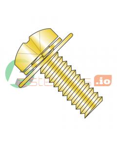 M4-0.7 x 8 mm SEMS Screws / Double Washer / Phillips / Pan JIS-B1-188 Head / Steel / Zinc Yellow / Split Lockwasher & Flat Washer / 9mm Flat Washer OD (Quantity: 3,000 pcs)