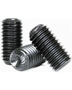 "Socket Set Screw, Knurled Cup Point, 8-36 x 3/16"", Alloy Steel, Black Oxide, Hex Socket (Quantity: 100)"