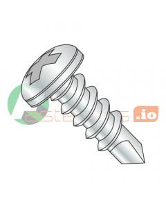 """#4 x 1/4"""" Self-Drilling Screws / Phillips / Pan Head / Steel / Zinc / #2 Drill Point (Quantity: 10,000 pcs)"""