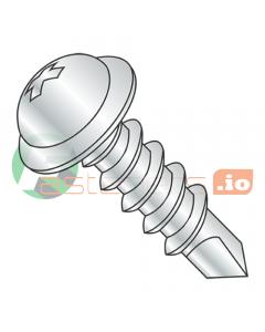 "#10 x 1 1/2"" Self-Drilling Screws / Phillips / Round Washer Head / Steel / Zinc / #3 Drill Point (Quantity: 2,500 pcs)"
