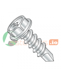 """#6 x 1/2"""" Self-Drilling Screws / Phillips / Hex Washer Head / Steel / Zinc / #2 Drill Point (Quantity: 10,000 pcs)"""