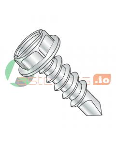 "#4 x 3/8"" Self-Drilling Screws / Slotted / Hex Washer Head / Steel / Zinc / #2 Drill Point (Quantity: 10,000 pcs)"