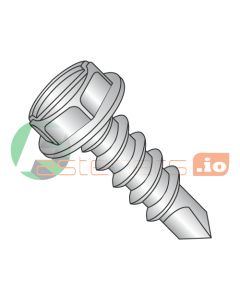 """#6 x 3/8"""" Self-Drilling Screws / Slotted / Hex Washer Head / 410 Stainless Steel / #2 Drill Point (Quantity: 5,000 pcs)"""