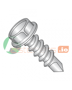 """#14 x 8"""" Self-Drilling Screws / Unslotted / Hex Washer Head / 410 Stainless Steel / #3 Drill Point (Quantity: 75 pcs)"""