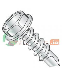 "#4 x 3/4"" Self-Drilling Screws / Unslotted / Hex Washer Head / Steel / Zinc / #2 Drill Point (Quantity: 10,000 pcs)"