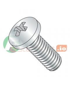 "0-80 x 1/4"" Machine Screws / Phillips / Pan Head / Steel / Zinc (Quantity: 10,000 pcs)"
