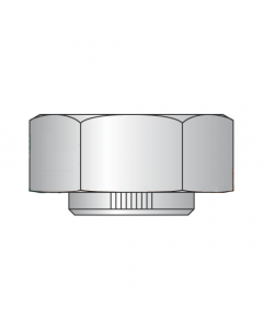 1 3/4-12 Non Flanged Stover Style Hex Collar Locknuts / Grade C / Cadmium Quantity: 5 pcs)