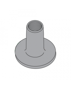 """6-32 Round Base Weld Nuts / No Projections / Steel / Plain / 1/4"""" Barrel Height / 0.562 Base Diameter (Quantity: 1,000 pcs)"""