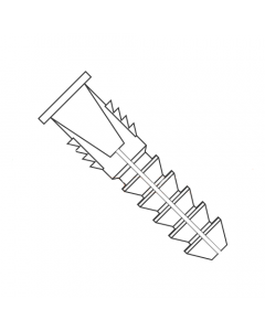 """#10 - #12 - #14 Tapered and Ribbed Plastic Anchors / Nylon / Natural / For Use With #10, #12 or #14 Screws / Length: 1 5/32"""" - 1 1/2"""" / Drill Size: 5/16"""" (Quantity: 1,000 pcs)"""