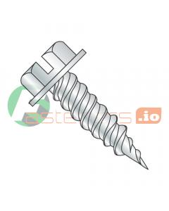 "#6 x 3/8"" Self-Piercing Screws / Slotted / Hex Washer Head (1/4"" AF) / Steel / Zinc (Quantity: 10,000 pcs)"