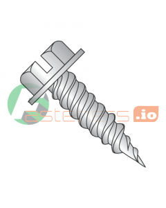 """#6 x 3/4"""" Self-Piercing Screws / Slotted / Hex Washer Head (1/4"""" AF) / 18-8 Stainless Steel (Quantity: 3,500 pcs)"""