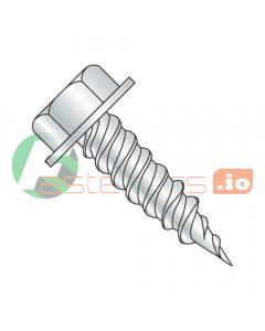 "#6 x 3/8"" Self-Piercing Screws / Unslotted / Hex Washer Head (1/4"" AF) / Steel / Zinc (Quantity: 10,000 pcs)"