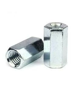 """1/2""""-13 to 3/8""""-16 x 1 1/4"""" (5/8"""" AF) Reducer Coupling Nuts / A563 Grade A Steel / Zinc Plated (Quantity: 25)"""