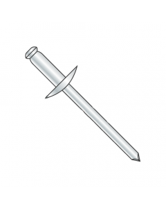 "1/8"" x .25""-.37"" (#46) Large Flange Blind Rivets / All Steel / Zinc / Barrel Length: .525"" (Quantity: 8,000 pcs)"