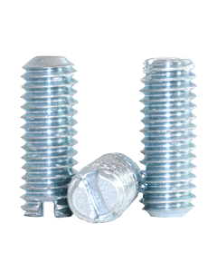 """Slotted Socket Set Screws, Cup Point, 6-32 x 1/8"""", Alloy Steel, Case Hardened, Zinc, Slotted Drive (Quantity: 100)"""